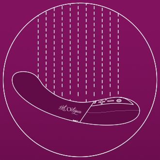 KURVE G-Spot Vibrator Illustration stating that the sex toy is 100% Waterproof