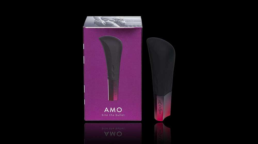 AMO box and product isolated on black