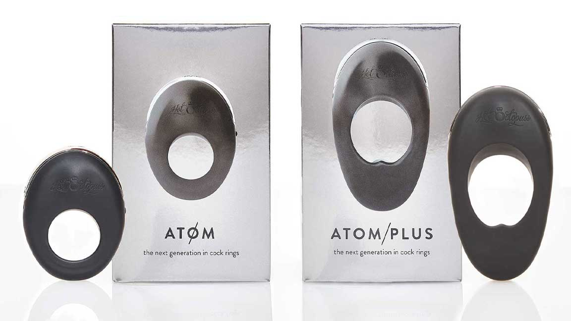 ATOM and ATOM PLUS boxes and products isolated on white