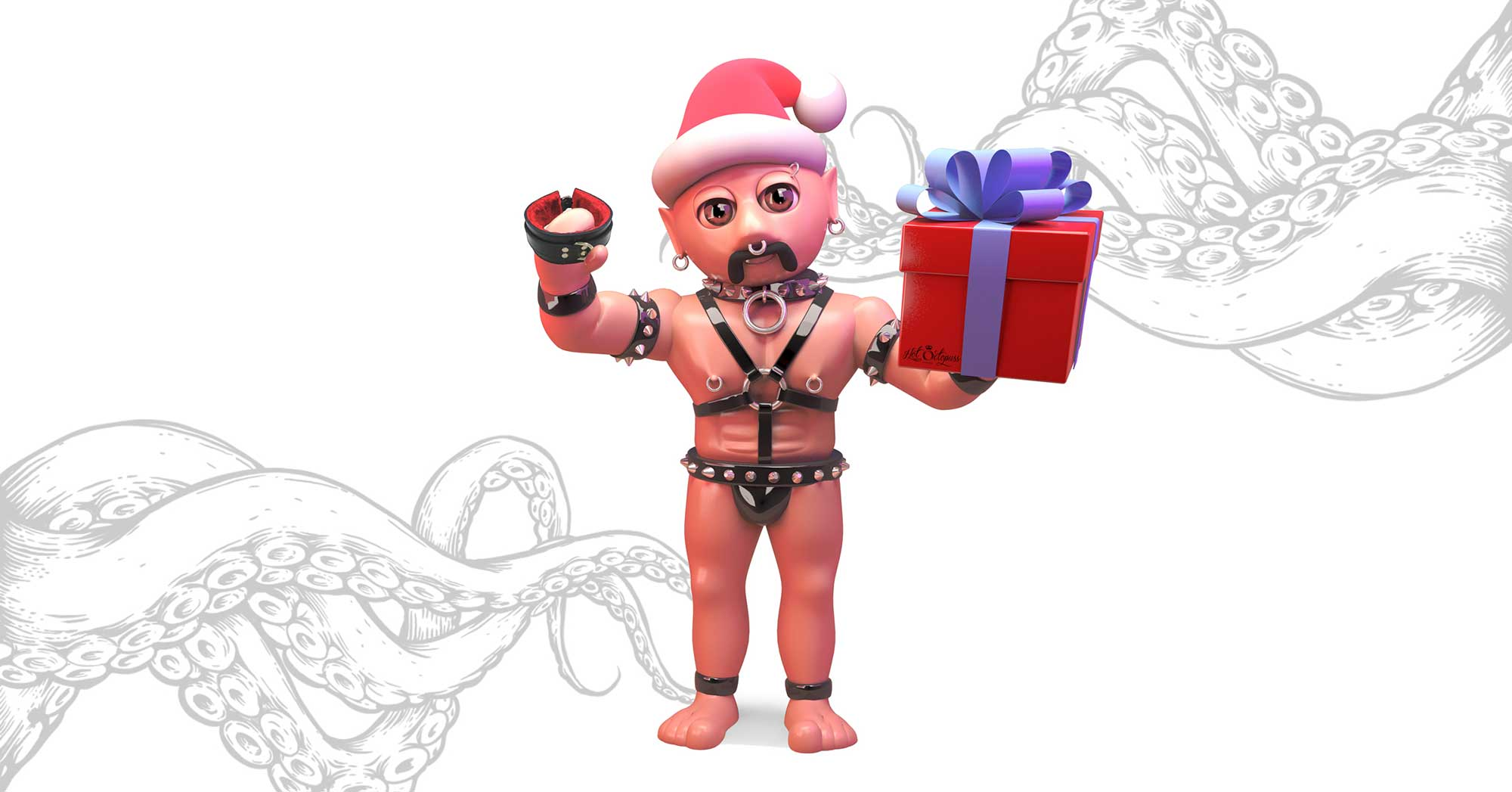 BDSM man wearing straps and a Christmas hat, holding a present and a padded collar