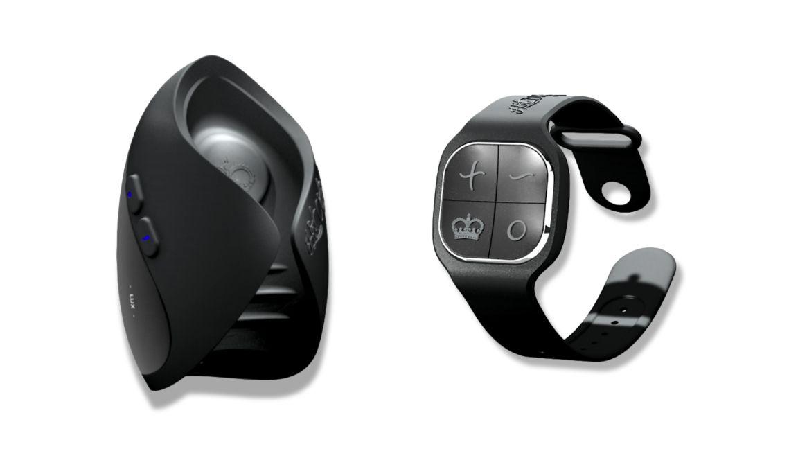 pulse solo lux and wrist-strap remote on white background