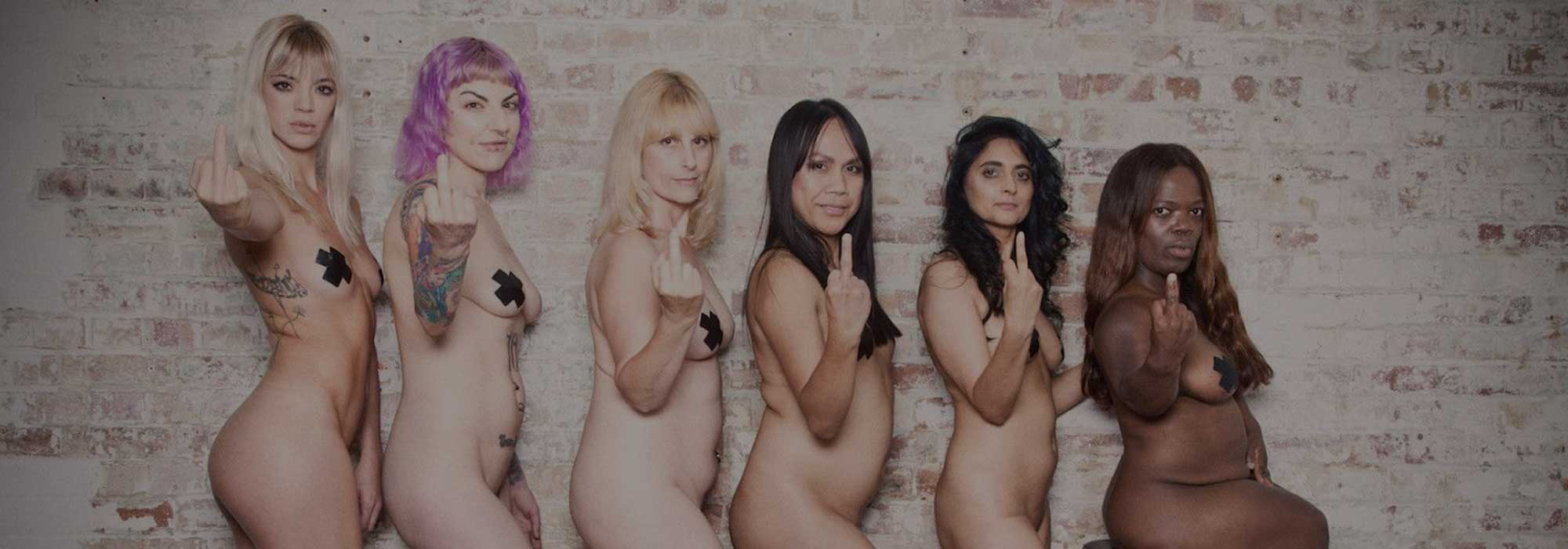 Six women of different ethnicities showing stigma the finger