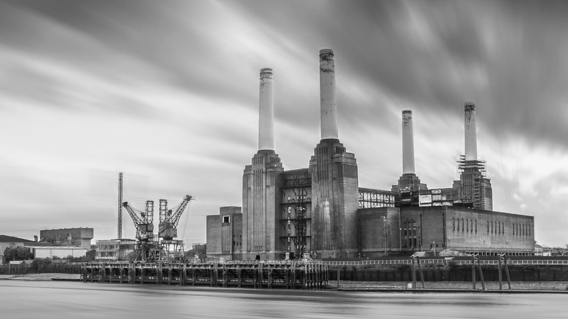 Battersea power station with clouds